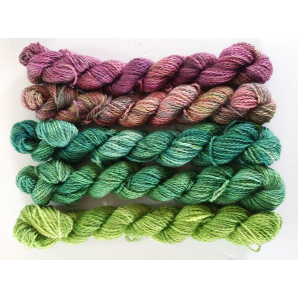 gradient yarn set - 5x115 g - 2100+ yards - hand-dyed fingering SPRING MIX