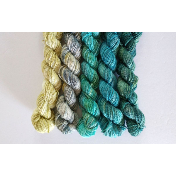 gradient fade yarn set - 5 x 115g 2100+ yards - hand-dyed fingering BEA