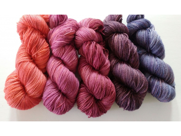 gradient fade yarn set - 5 x 115g 2100+ yards - hand-dyed fingering BRAZEN