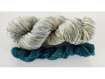 hand-dyed merino sock yarn kit DOVE