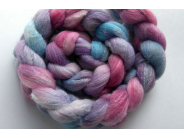 hand-dyed polwarth silk roving