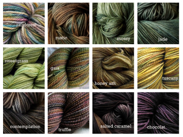 hand-dyed yarn colourways Oceanwind Knits