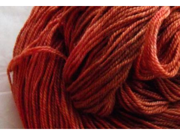 terracotta BFL hand-dyed wool