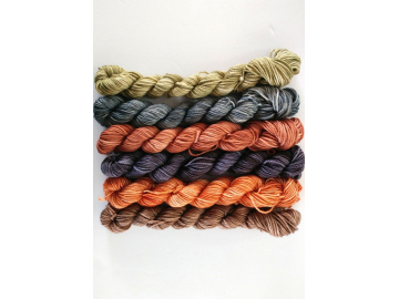mini skeins yarn set - 6 x 20g / 73 yards each, 458 yards total - hand-dyed merino + cashmere + nylon - ROCKS