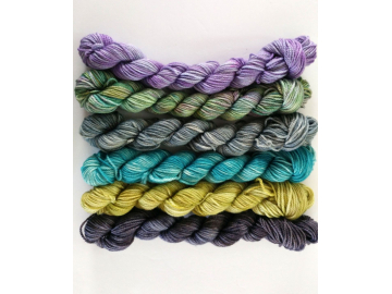 mini skeins yarn set - 6 x 20g / 73 yards each, 458 yards total - hand-dyed merino + cashmere + nylon - LIGHTS