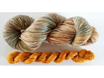 hand-dyed merino + cashmere sock yarn kit RUSTIC