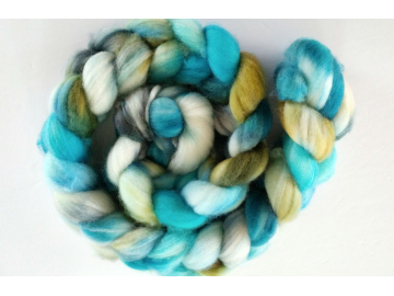 hand-dyed merino spinning roving 4 oz. - BEACH