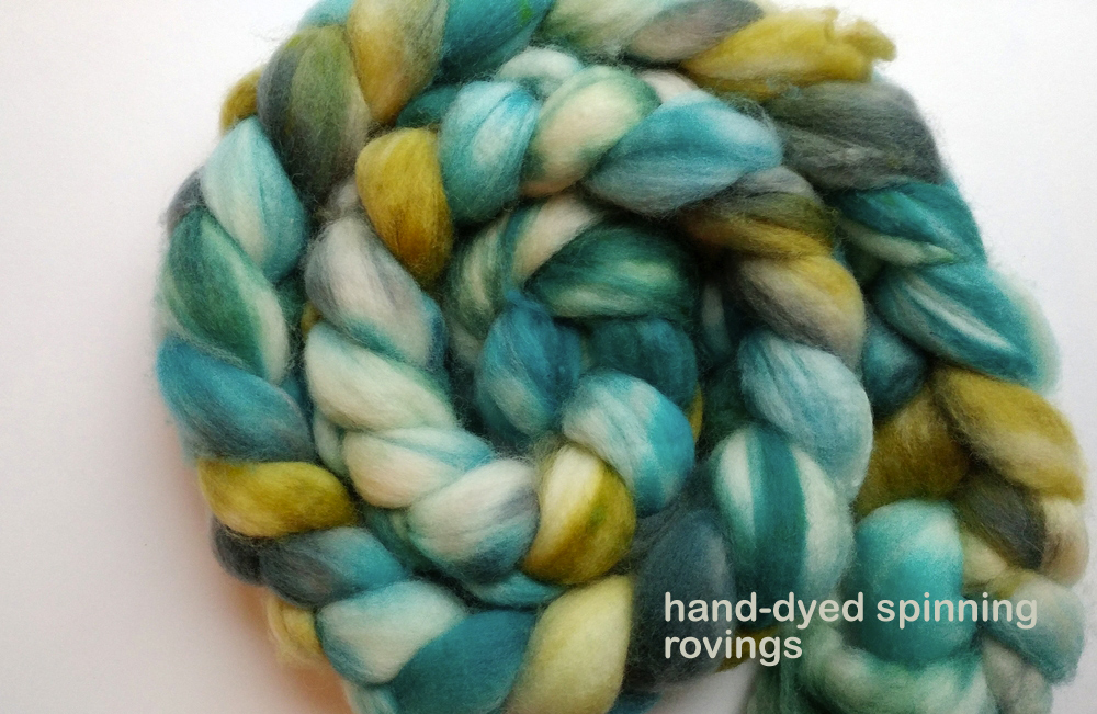Canadian-made hand-dyed rovings by Oceanwind Knits
